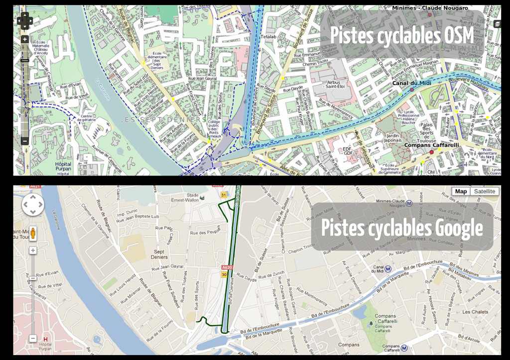 Pistes cyclables OSM Pistes cyclables Google
