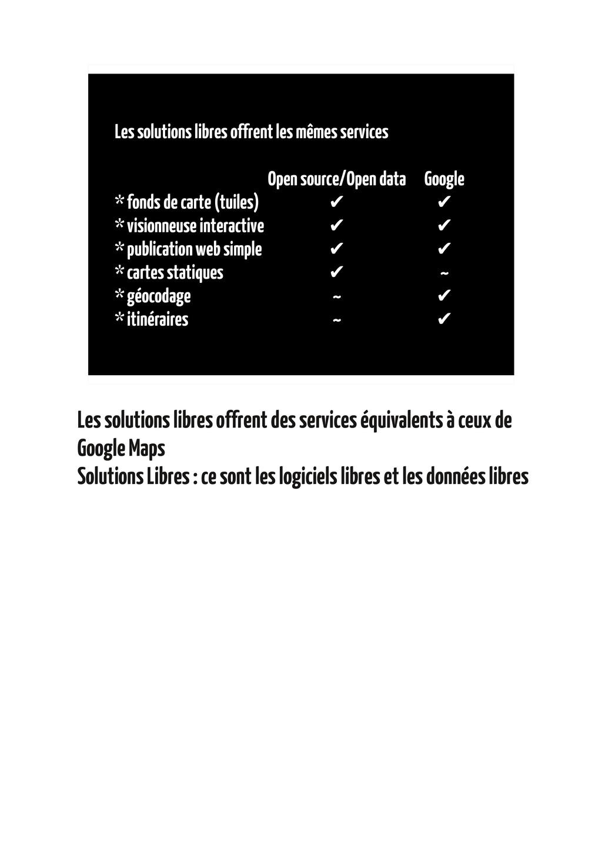 Les solutions libres offrent les mêmes services...