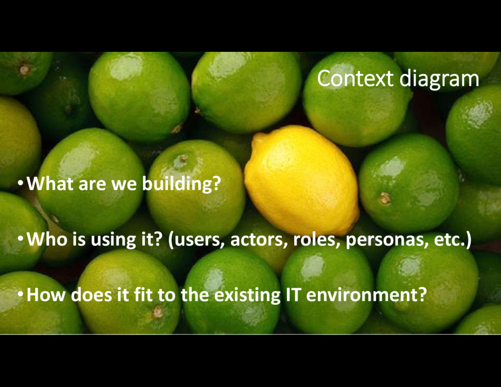 •What are we building? •Who is using it? (users...