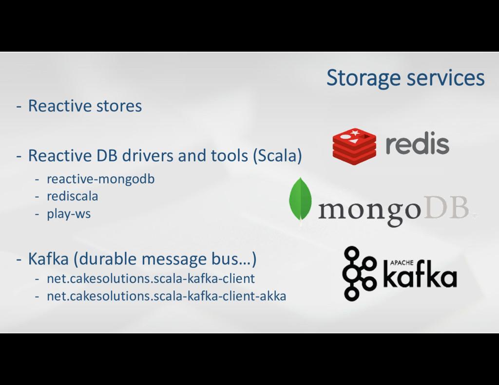- Reactive stores - Kafka (durable message bus…...