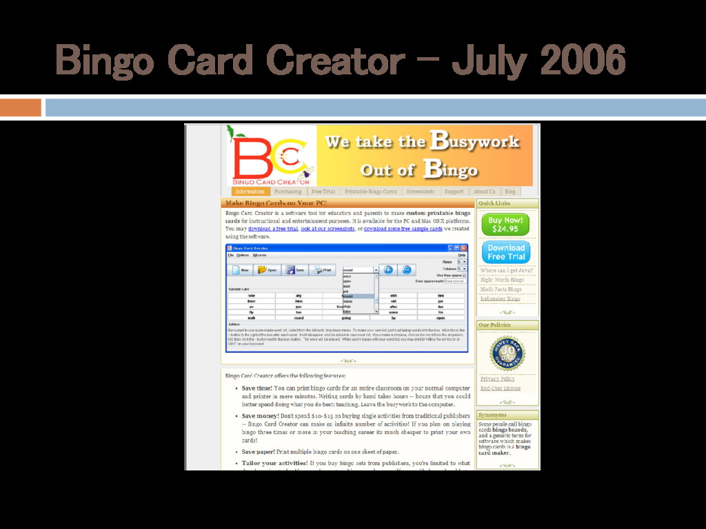 Bingo Card Creator – July 2006