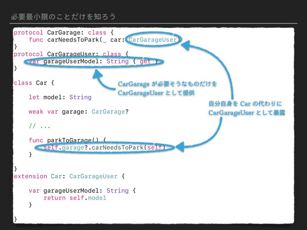 ඞཁ࠷খݶͷ͜ͱ͚ͩΛΖ͏ protocol CarGarage: class { func...