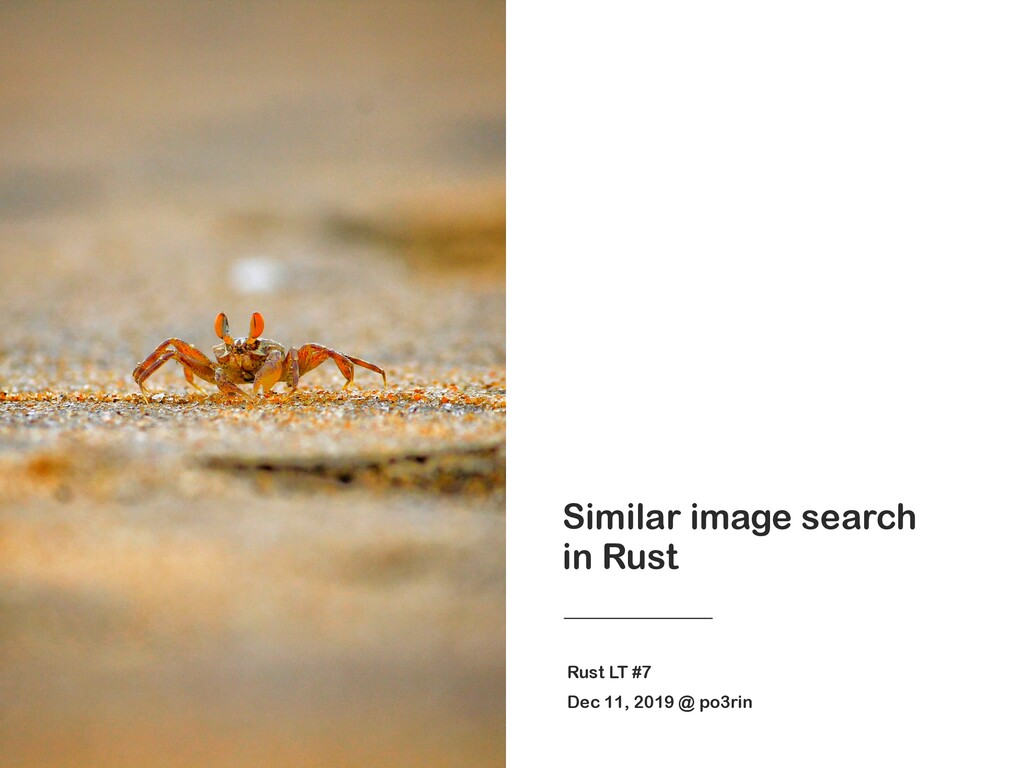 Similar image search in Rust Rust LT #7 Dec 11,...