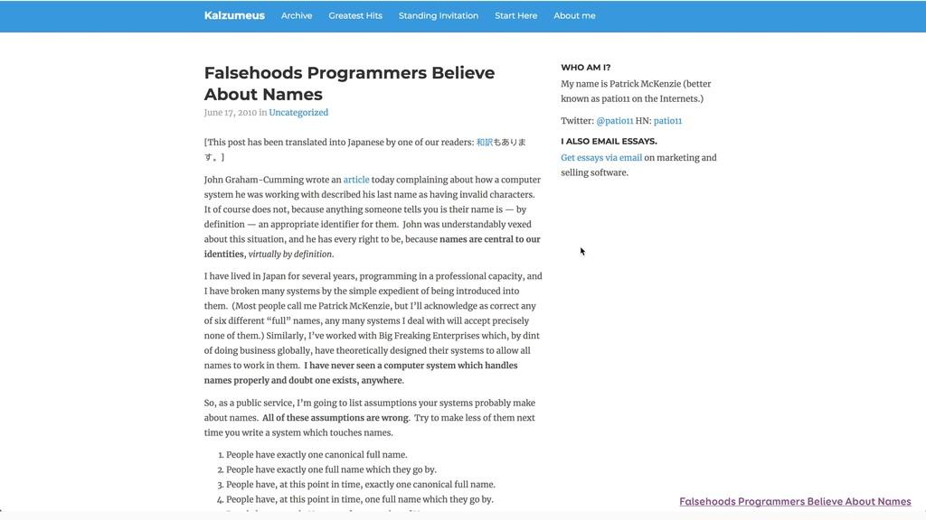 Falsehoods Programmers Believe About Names