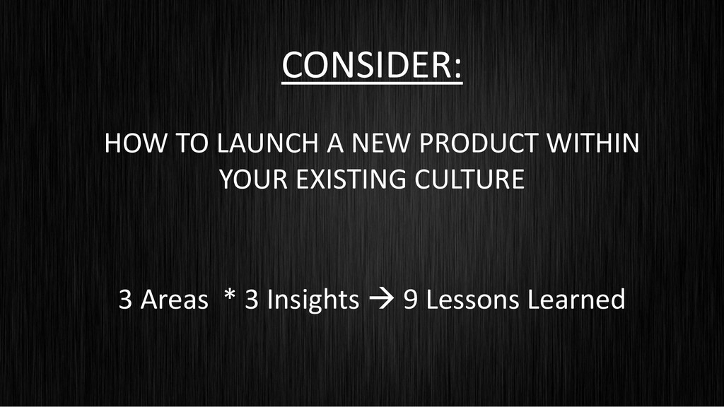 CONSIDER: HOW TO LAUNCH A NEW PRODUCT WITHIN YO...