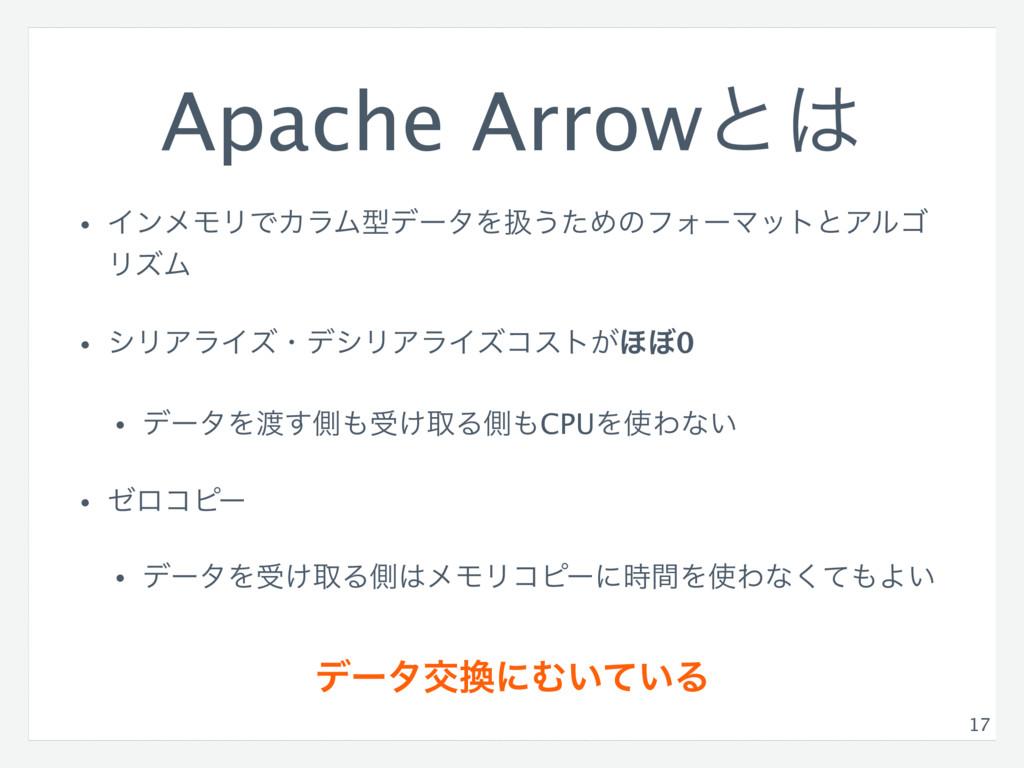 Apache Arrowͱ • ΠϯϝϞϦͰΧϥϜܕσʔλΛѻ͏ͨΊͷϑΥʔϚοτͱΞϧΰ ...
