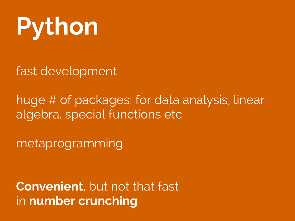 Python fast development huge # of packages: for...