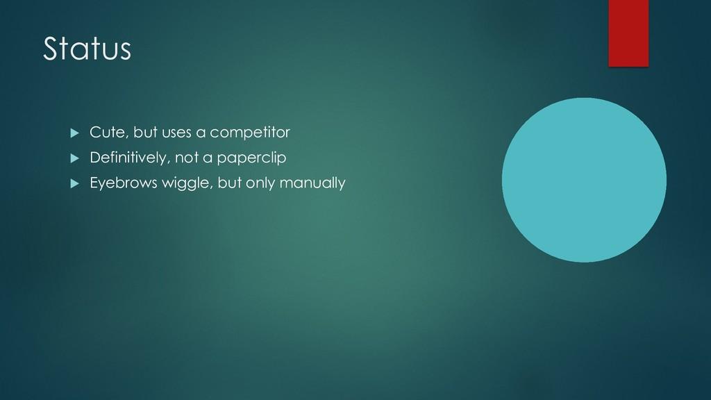 Status u Cute, but uses a competitor u Definiti...
