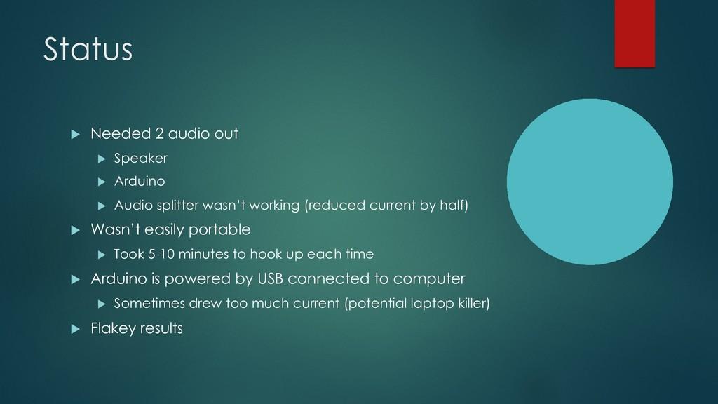Status u Needed 2 audio out u Speaker u Arduino...