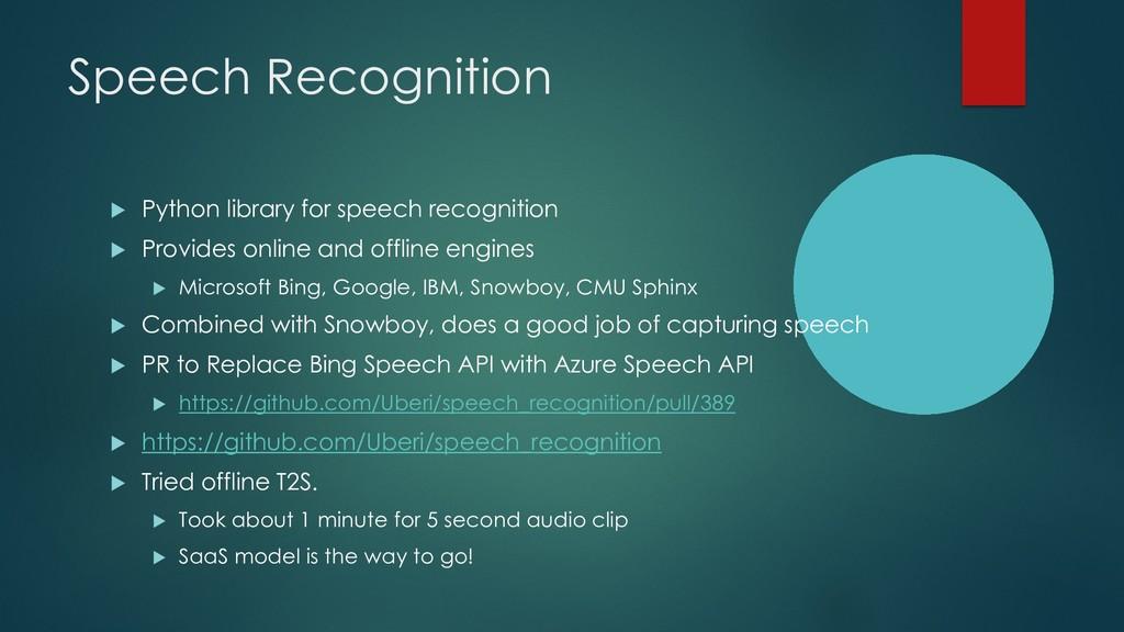 Speech Recognition u Python library for speech ...