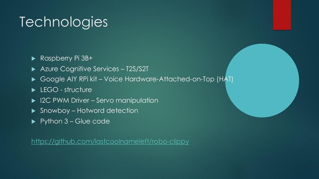 Technologies u Raspberry Pi 3B+ u Azure Cogniti...