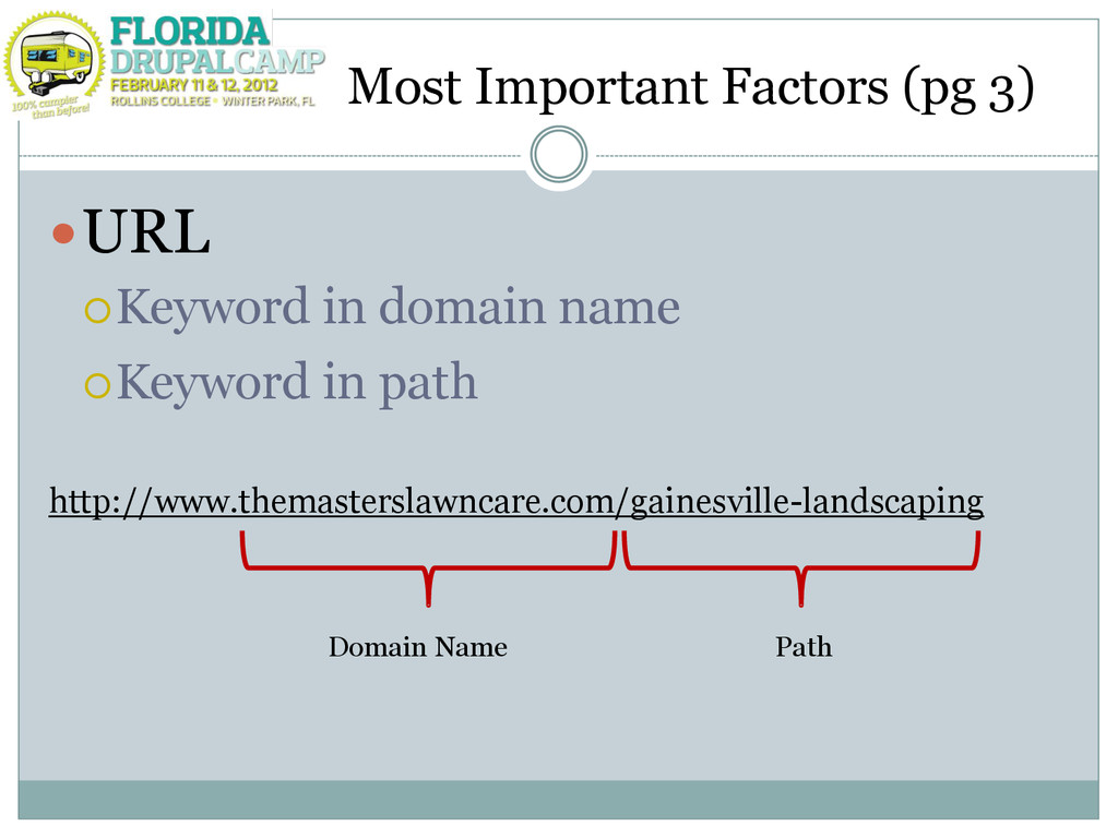 Most Important Factors (pg 3) URL Keyword in ...