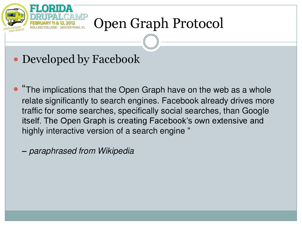 "Open Graph Protocol  Developed by Facebook  ""..."