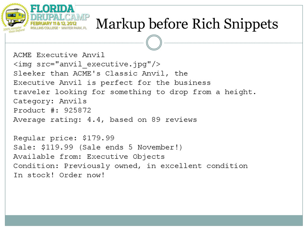 Markup before Rich Snippets ACME Executive Anvi...