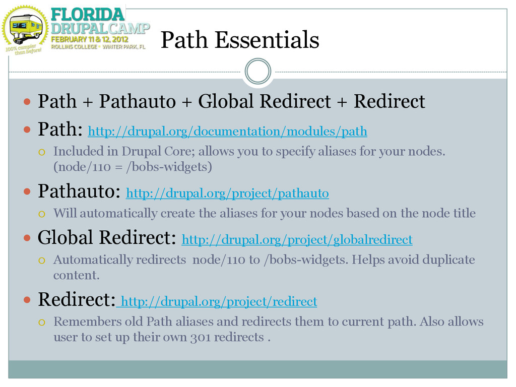 Path Essentials  Path + Pathauto + Global Redi...
