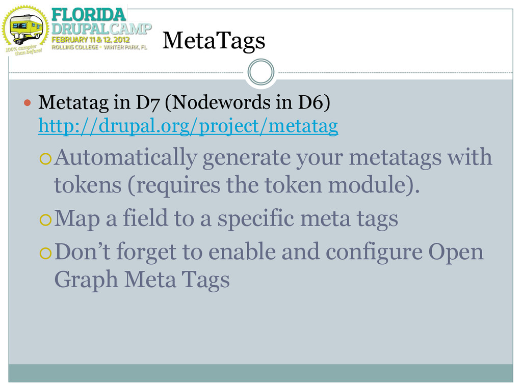 MetaTags  Metatag in D7 (Nodewords in D6) http...