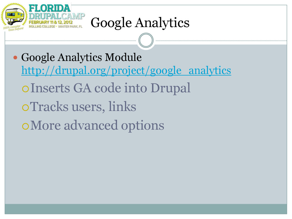 Google Analytics  Google Analytics Module http...