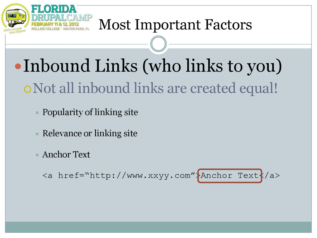 Most Important Factors Inbound Links (who link...