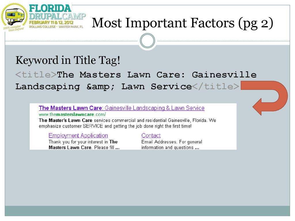 Most Important Factors (pg 2) Keyword in Title ...