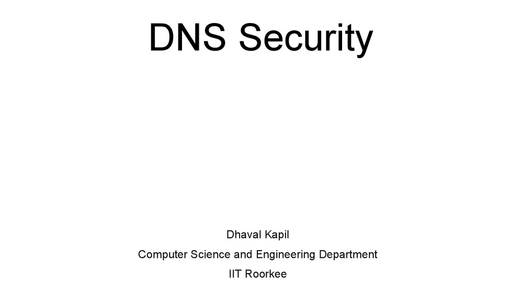 DNS Security Dhaval Kapil Computer Science and ...