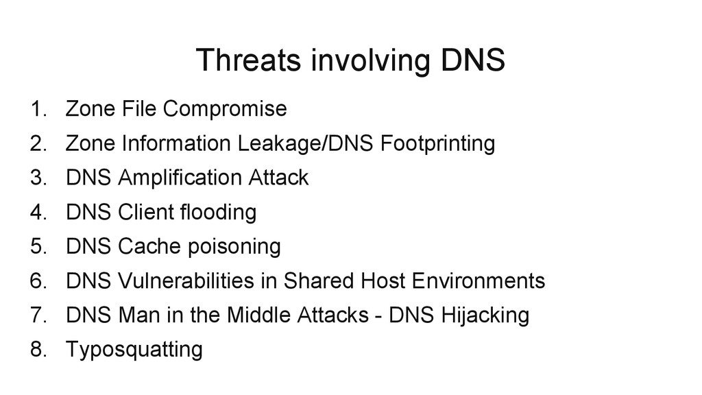 Threats involving DNS 1. Zone File Compromise 2...