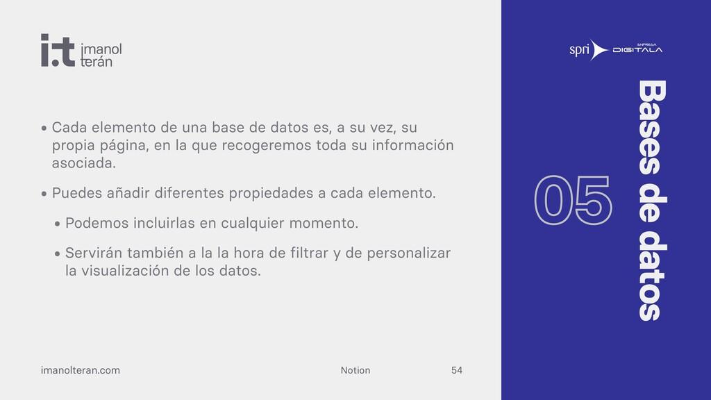 Notion imanolteran.com • Cada elemento de una b...