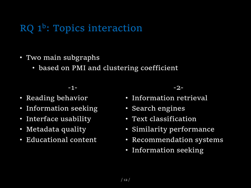 RQ 1b: Topics interaction -1- • Reading behavio...