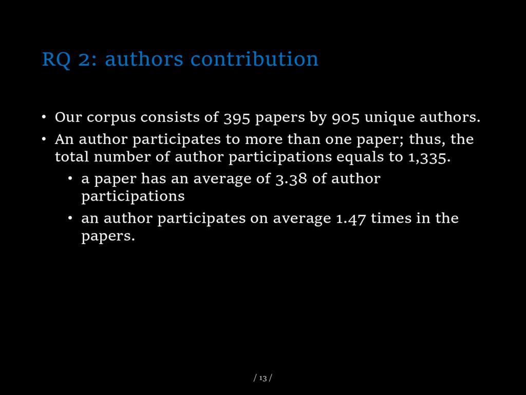 RQ 2: authors contribution • Our corpus consist...