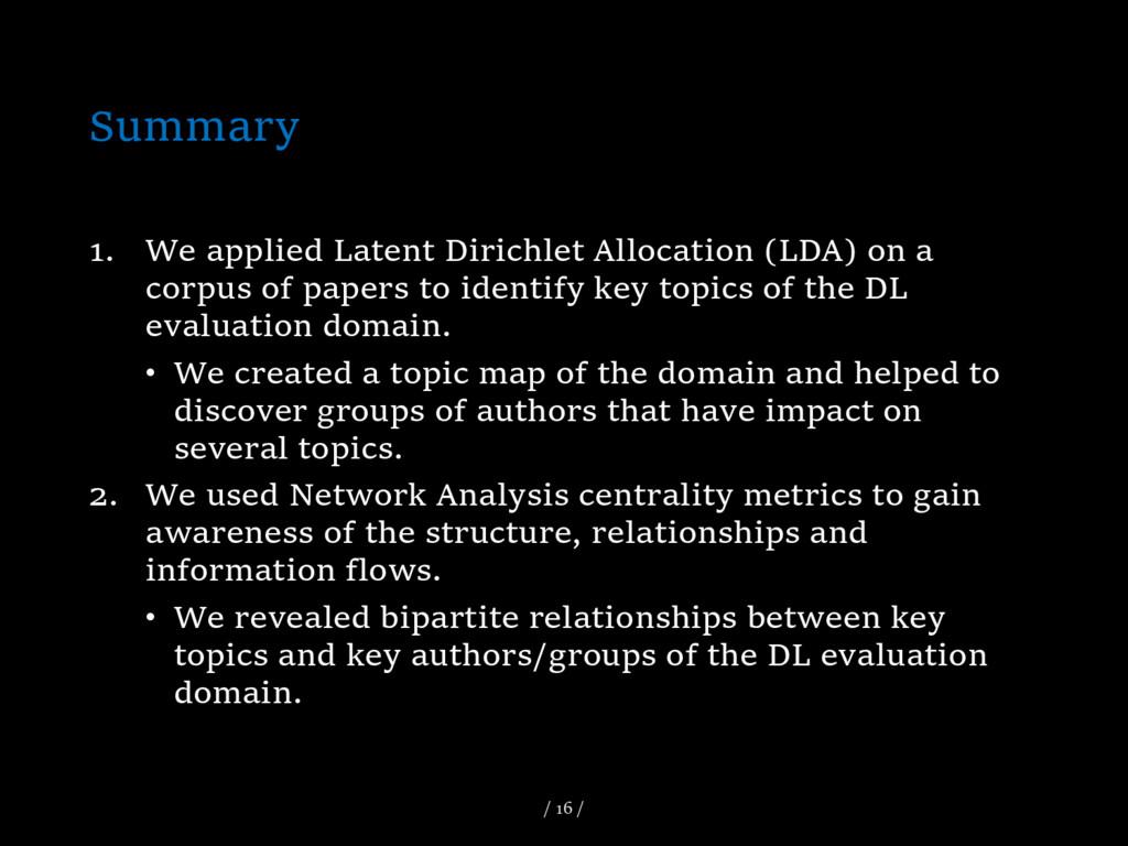 Summary 1. We applied Latent Dirichlet Allocati...