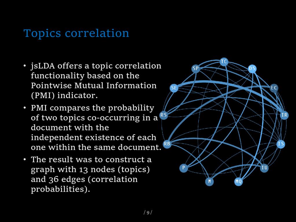 Topics correlation • jsLDA offers a topic corre...