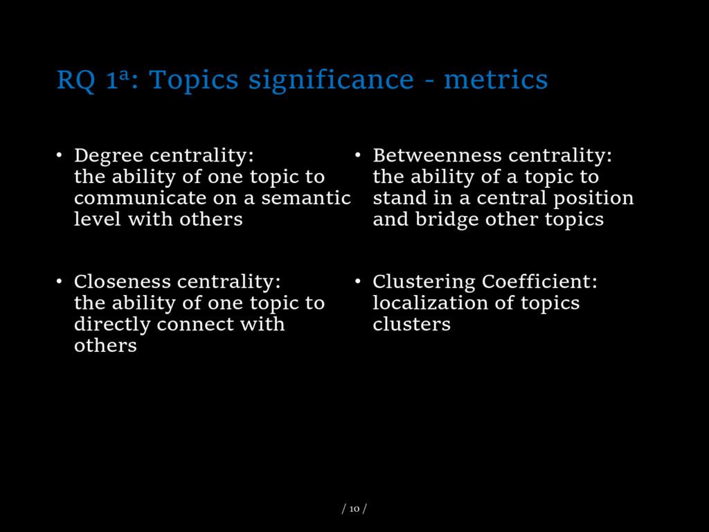RQ 1a: Topics significance - metrics • Degree c...