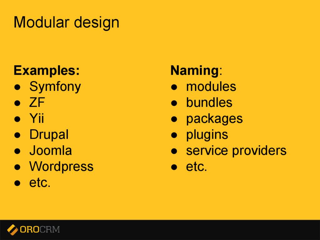 Presentation title here Modular design Examples...