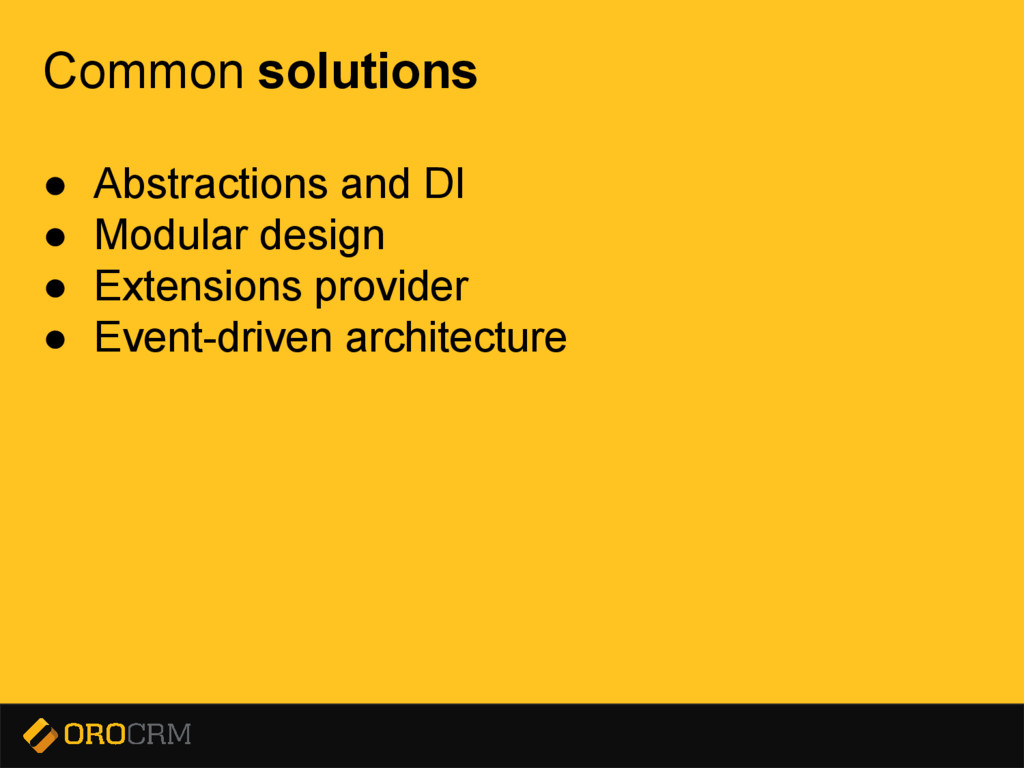 Presentation title here Common solutions ● Abst...