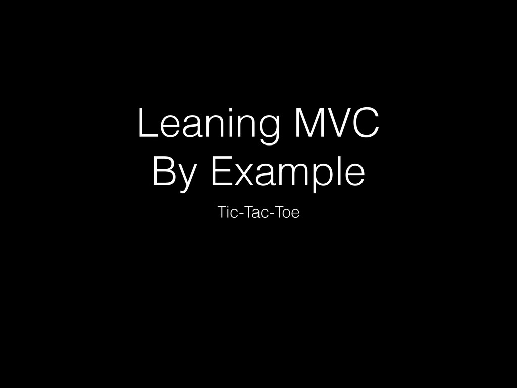 Leaning MVC 