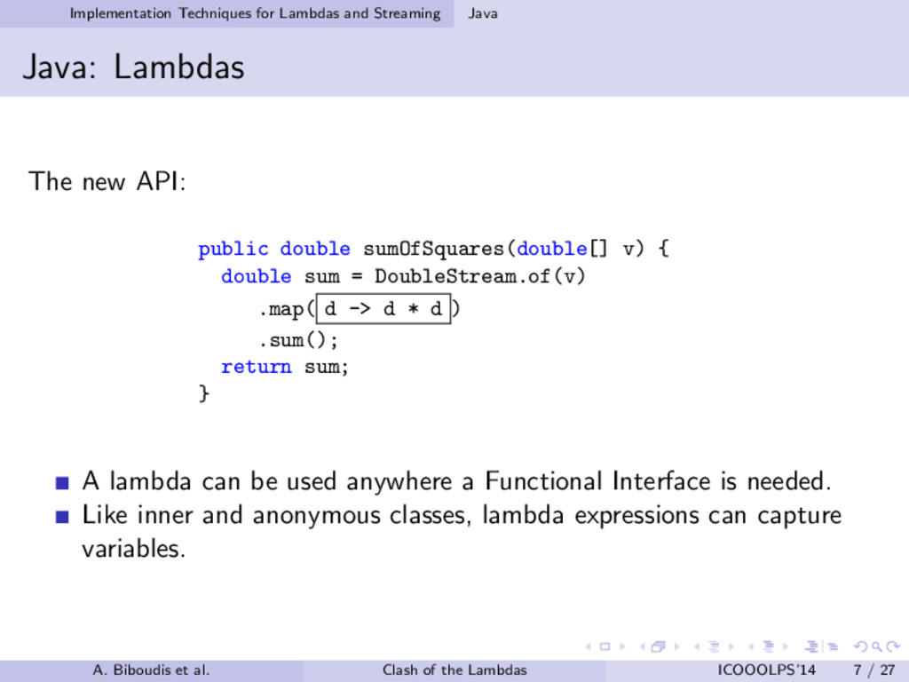 Implementation Techniques for Lambdas and Strea...