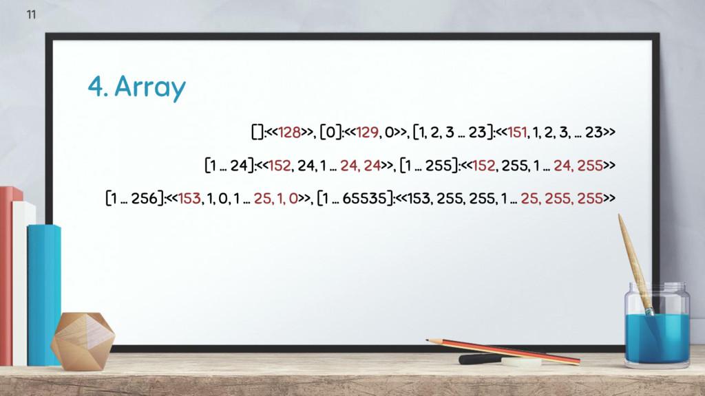 4. Array 11 []:<<128>>, [0]:<<129, 0>>, [1, 2, ...