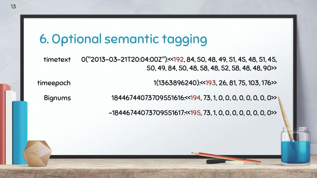 "6. Optional semantic tagging 13 timetext 0(""201..."