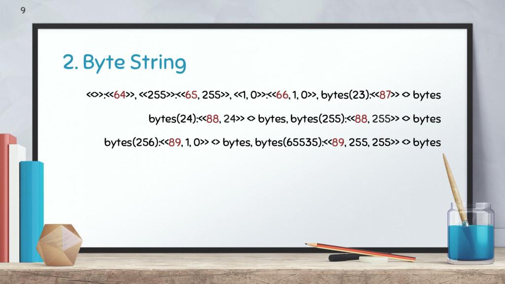 2. Byte String 9 <<>>:<<64>>, <<255>>:<<65, 255...