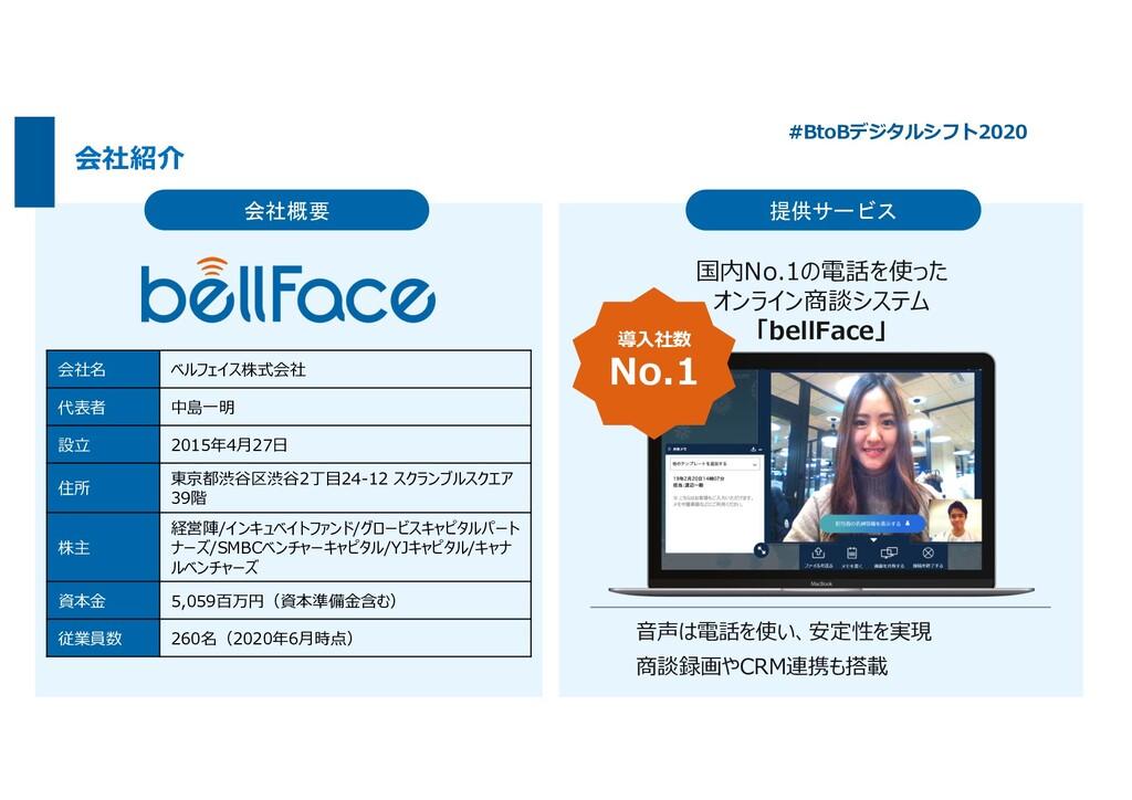 会社概要 提供サービス 国内No.1の電話を使った オンライン商談システム 「bellFace...