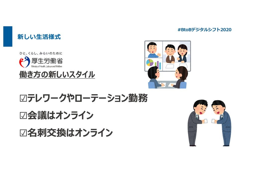 働き⽅の新しいスタイル ☑テレワークやローテーション勤務 ☑会議はオンライン ☑名刺交換はオン...