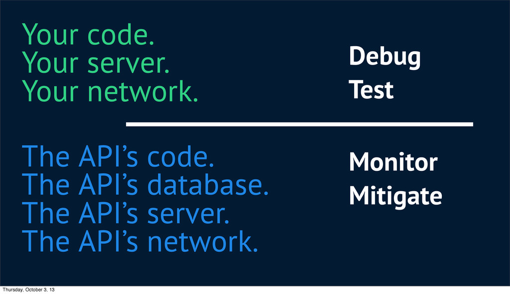 The API's code. The API's database. The API's s...