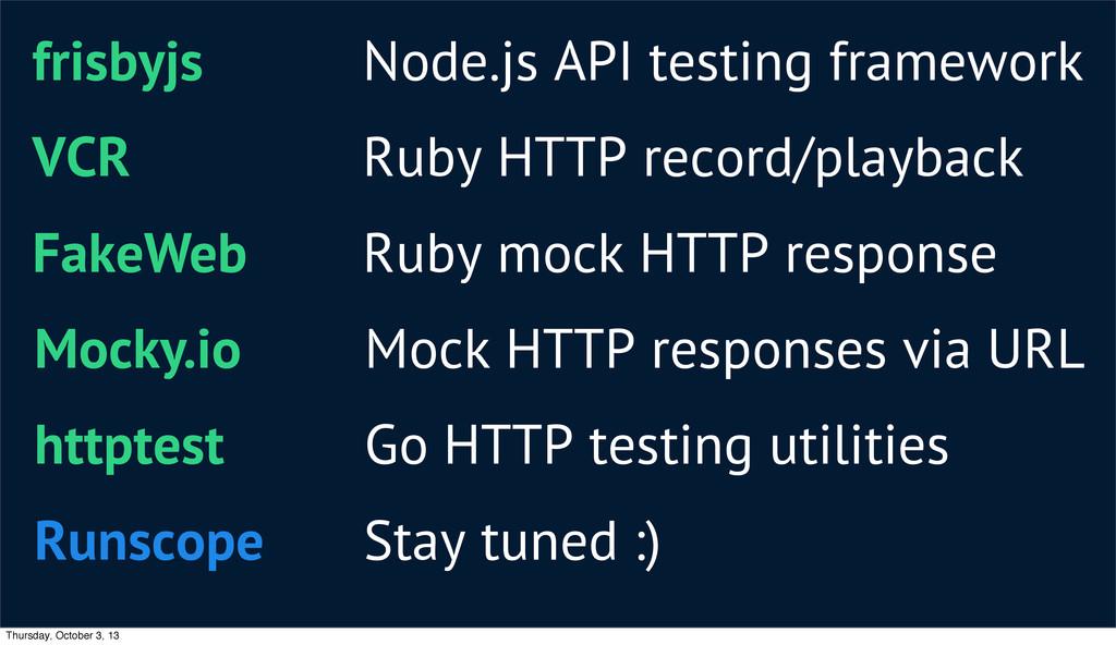 frisbyjs Node.js API testing framework VCR Ruby...