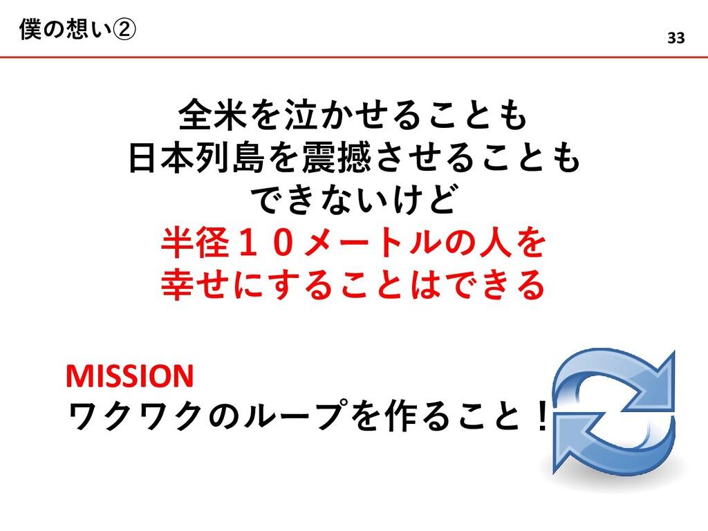 僕の想い② 全米を泣かせることも 日本列島を震撼させることも できないけど 半径10メートルの...
