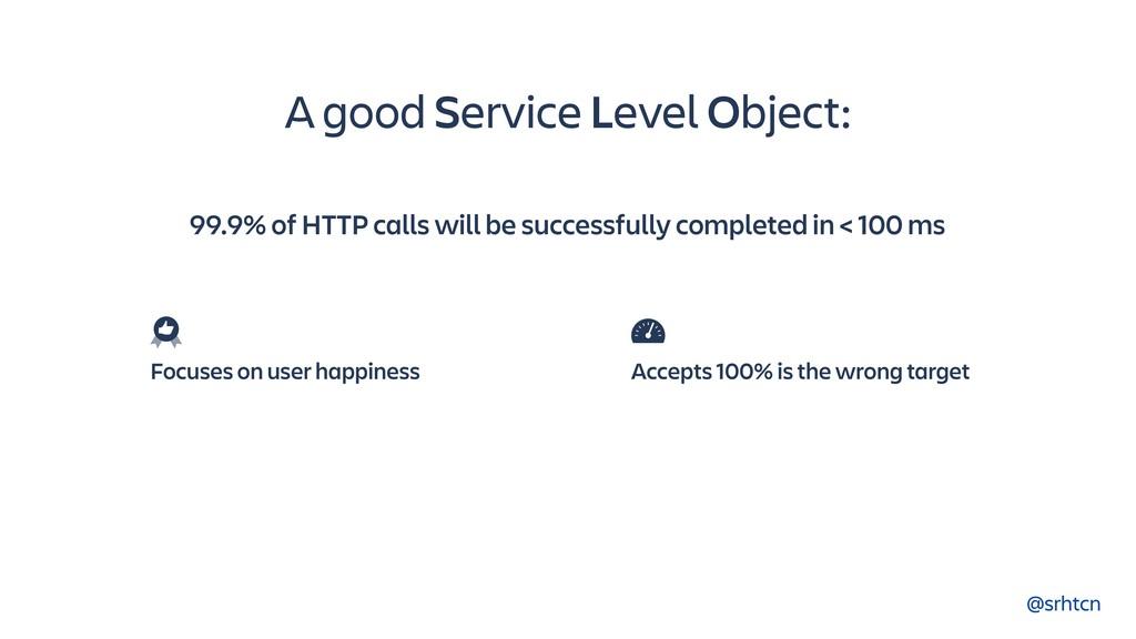 @srhtcn A good Service Level Object: Focuses on...