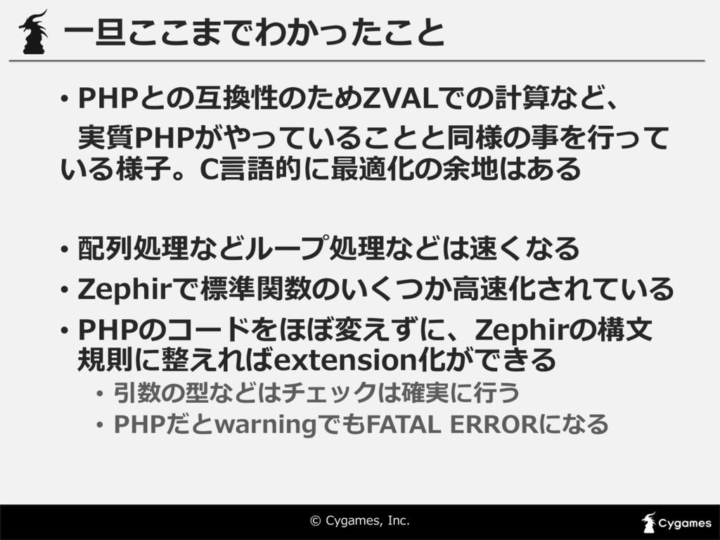 © Cygames, Inc. ⼀一旦ここまでわかったこと • PHPとの互換性のためZV...