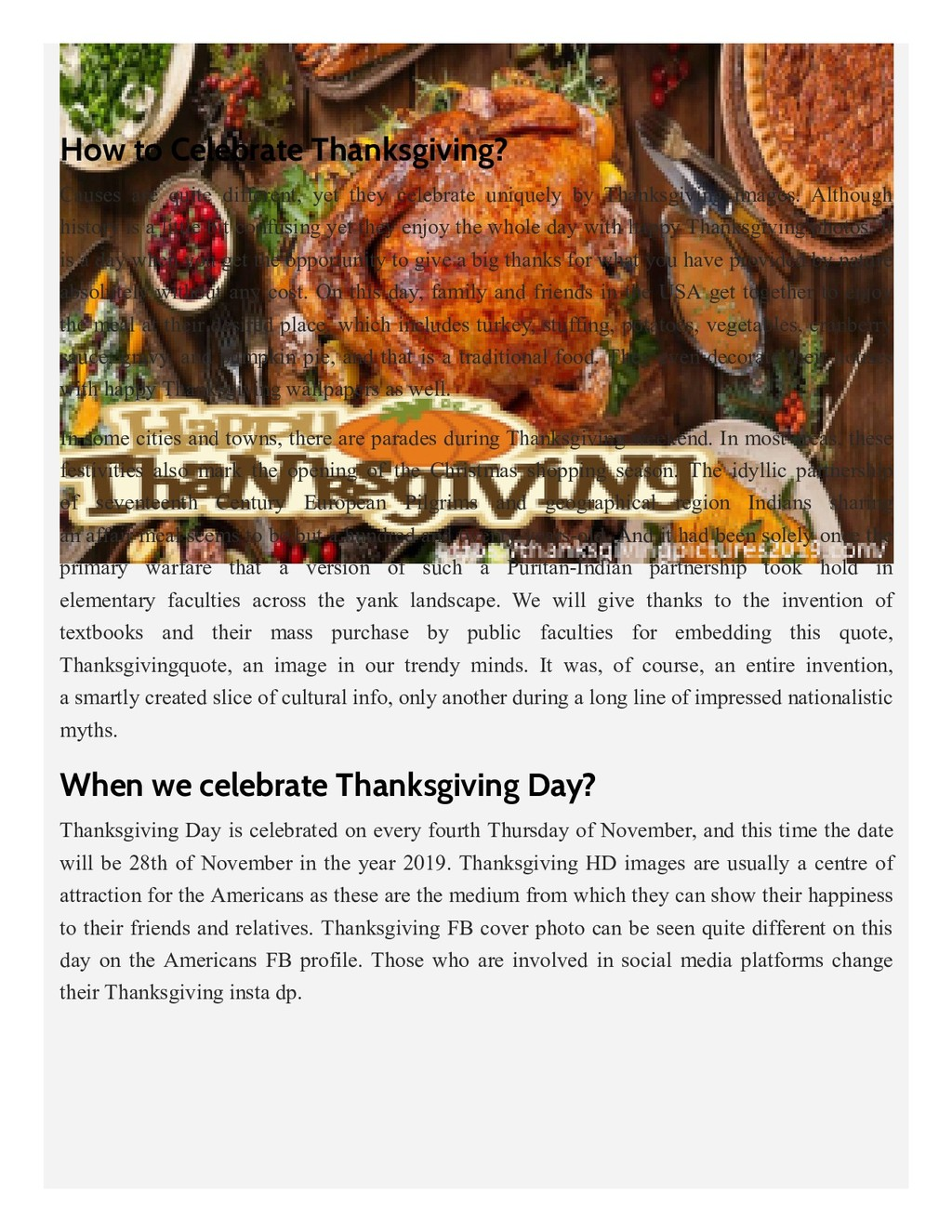 How to Celebrate Thanksgiving? Causes are quite...