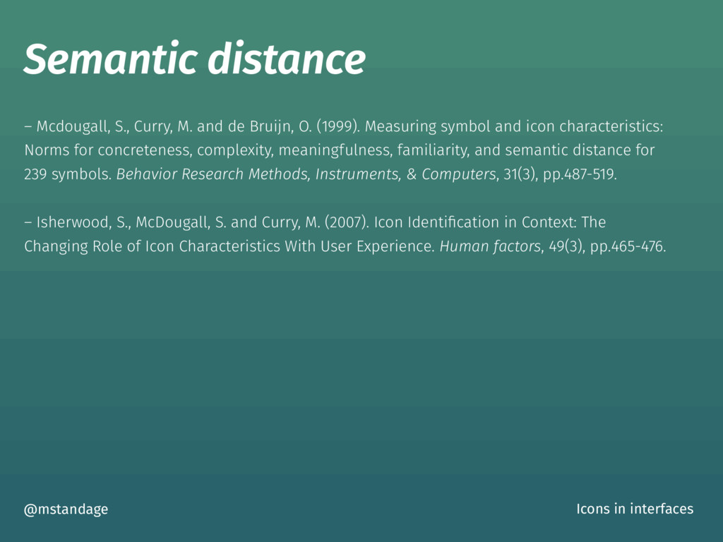 Semantic distance @mstandage Icons in interface...