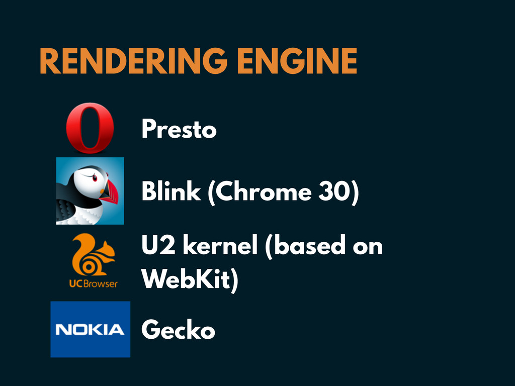 RENDERING ENGINE Presto Blink (Chrome 30) U2 ke...