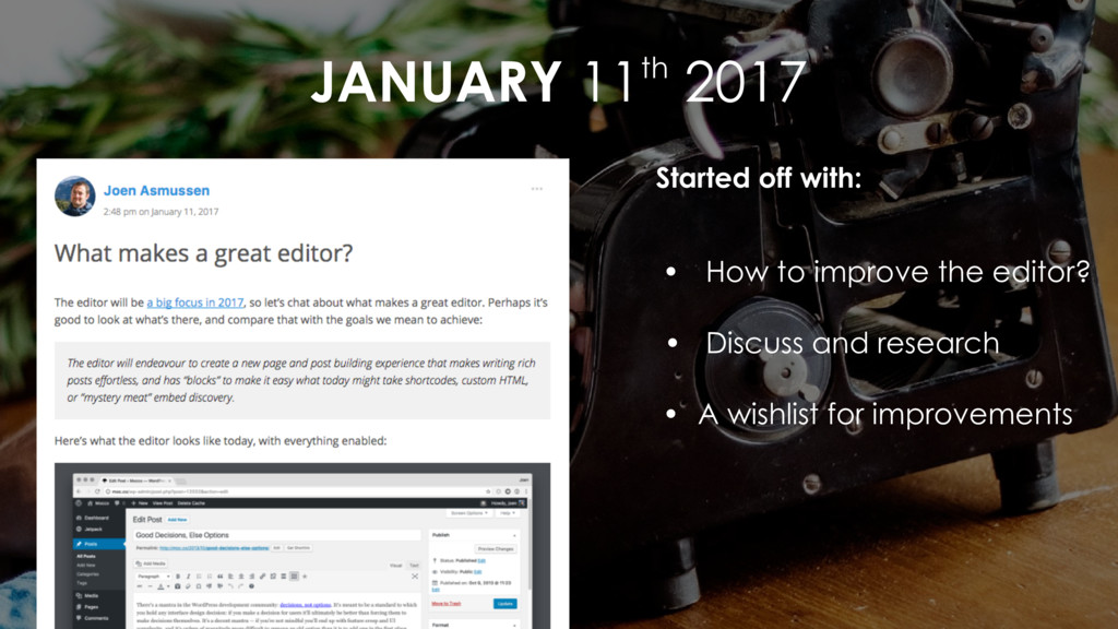 JANUARY 11th 2017 Started off with: • How to im...
