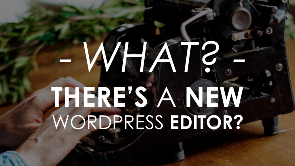 - WHAT? - THERE'S A NEW  WORDPRESS EDITOR?